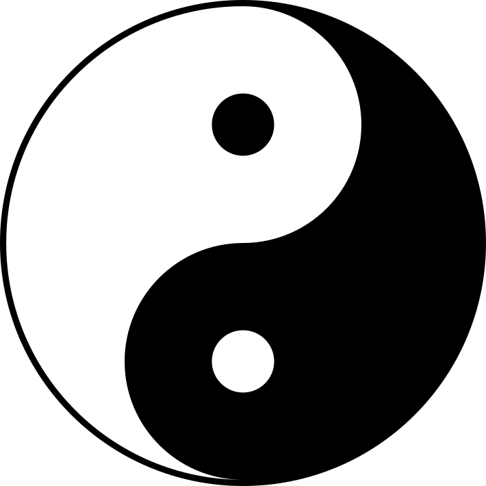 Yin-yang symbol; one black dot within a larger body of white and a white dot within a larger body of black. Both the dots and the bodies are identical to each other.